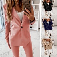Women's Suits & Blazers 2021 Autumn And Winter Long Sleeve Solid Color Suit Collar Button Jacket Cardigan Women Coats