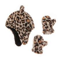 2021 inverno caldo leopardo stampato cappello dei cartoni animati per bambini + guanti set in o bambino natale natale esterno ciclismo sport in bicchiere da due pezzi cappelli all'uncinetto cranio cappello cranio g99i7i2