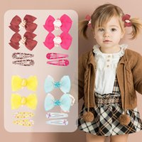 Free DHL 4pcs lot Girl Ribbon Bow Hairpin With Fully Wrapped Bowknot Hairclip Cartoon Simple Clip Kids Hair Accessories Set