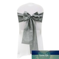 Sashes 1pc Wedding Chair Knot Gray Khaki Cotton Linen Cover Chairs Bow Band Belt Ties For Weddings Banquet Home Decor1