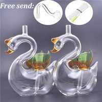 new design Glass Oil Burner Bong Hookah Swan shape bubbler Recycler Water Pipe Dab Rig Bongs for smoking with glass oil pot and hose 2pcs