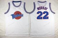 Schip van ons Bill Murray # 22 Tune Squad Space Jam Basketbal Jersey Movie Heren All Stitched White Jerseys Grootte S-3XL Topkwaliteit