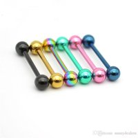 Straight Barbell Tongue Bar Rings 316l Surgical Steel Body Piercing Jewelry Fashion Stud 14g 16mm Rock Punk Men Women Wholesale