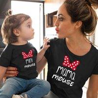 Mamá y mini familia Ropa de coincidencia de algodón Kawaii Bow Tshirt Mami y yo Tops Tops Baby Girl Ropa Trajes a juego