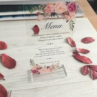 Greeting Cards Menu Card Wedding Table Decoration Invitation With Stand Holder Sell Acrylic Clear Invitations