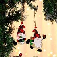 Weihnachten Dekorationen Malen Holz Anhänger Haus Auto Weihnachtsbaum Gesichtslose Alter Mann Rudolph Muster Anhänger Indoor Party Dekoration Verkauf G766EJV