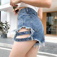 Ailegogo Sommer Frauen Streetwear Loch Niet Blue Denim Shorts mit Gürtel Casual Weibliche Hohe Taille Black Jeans Frauen