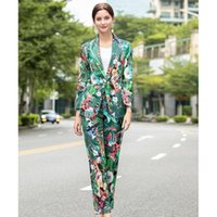 Runway Designer Set High Quality Spring Autumn Women Suits Long Sleeves Print Blazer+ Pants Two-piece Sets NP1351N Women's Tracksuits
