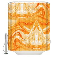 Shower Curtains Marble Orange Blue Texture Fabric Bathroom Accessories Curtain Sets Childrens Modern