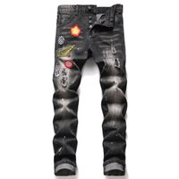 Uomini Slim Fit Ripped Jeans Jeans Badge Hole distrutto Skinny Dritto Gamba Dritto Lavato Mens Frayed Motocycle Denim Pants Hip Hop Stretch Biker Pantaloni da uomo Arressed da uomo 1206