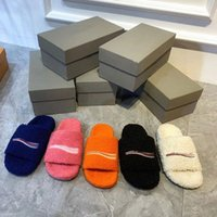 Luxurys designers mulheres senhoras chinelos lã desliza de inverno macio macio peludo quente letras sandálias confortável fuzzy menina flip flop flop flop slipper slide