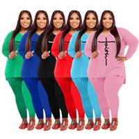 XL-5XL Women Tracksuits Designer Letter Printed V-Neck Long Sleeved Loose T Shirt Leggings Two Pieces Outfits Plus Sizes Sportswear