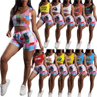 Summer Womens Clothing tank top shorts tracksuits outfits two piece set women clothes casual sleeveless vest sportswear sport suit selling klw6429