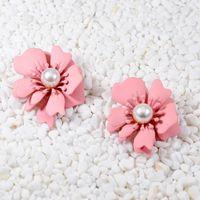 Wholesale Imitation Pearl Pink Flower Stud Earrings For Womenn Fashion Jewelry Cute Romantic Enamel Statement Earings Oorbellen