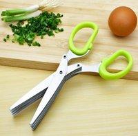 Ferramentas de Cozinha de Aço Inoxidável Acessórios de Cozinha Facas 5 Camadas Tesouras Sushi Scredded Scallion Cut Herb Scissor CCF6359