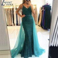 Party Dresses Edge of Mermaid Evening Gown Kralen Prom Womens Pageant Formal Gown Spaghettibandjes Vestido Festa Robe De Soiree