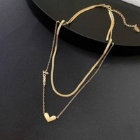 Pendant Necklaces Korean Style Double Layer Snake Bone Chain Heart Necklace For Women Simple Choker Clavicle Girl Party Jewelry Gift