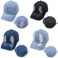 Waschen Machen Sie alten Cowboy-Hysteraprücken im Freien Mode-Lücke Frau Baseballkappen einstellbare feste Farbponytail-Hüte 14bz B3