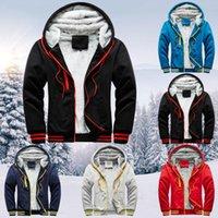 Men's Jackets Mens Winter Plus Fleece Baseball Uniform Sports Jacket Hoodie Warm Villus Zipper Sweater Outwear Coat Free