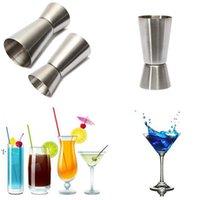 Herramientas de cocina Jigger Coctel de acero inoxidable Shaker Mida a la taza Dispositivo de medición de vino de doble cabeza 15 / 30ml BWB10147