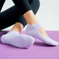 Chaussettes de sport Yoga respirant Pilates Ballet Balier Bandage coton non glissé pantoufles de danse avec poignées