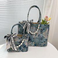 Design handbag Bags Portable canvas female 2021 new fashion watercolor painting Tote Bag French pearl messenger bag UB0N