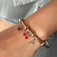 Cherry Love Letter Bracelet Ins Simple Adjustable Opening Bead Circle Female Jewelry Gift Bangle