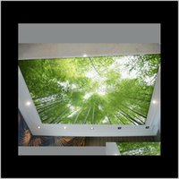 Wallpapers Décor Home & Gardenwholesale-Ceiling Bamboo Wallpaper Green Scenery Sky Decoration Living Room Custom Ktv Bar Drop Delivery 2021