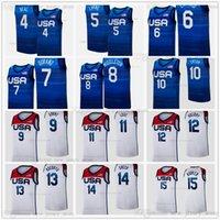 Напечатанные 2021 Токио Летние Олимпиады Баскетбольная майки для баскетбола 4 Брэдли Бил 5 Zach Lavine 6 Damian Lillard 7 Kevin Durant 8 Хрис Миддлтон 10 Джейсон Татум Человек Женщины Дети