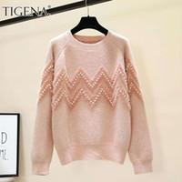 Tigena Hermosa abalorios sueltos punto cálido suéter de invierno mujeres 2020 coreano lindo manga larga jersey jersey vestido de punto rosa lj201114