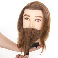100% Erkek Gerçek İnsan Saç Manken Uygulama Eğitim Kafası Sakallı Sakallı Sakallı Kuaförlük Manken Başkanı