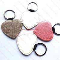 Süblimasyon Glitter Deri Anahtarlıklar Boş Kalp Anahtarlık Parlak Toz Ile Sıcak Transfer Baskı Sarf Malzemeleri 15 adet / grup 210410