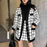 최고 품질 가을 겨울 대비 흑백 체크 무늬 트위드 2 조각 세트 여성 느슨한 모직 자켓 코트 + 슬림 짧은 치마 세트 201030