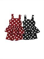 Summer 3 7years Fashion Kids Girls Clothes Sets Polka Dot Print Sleeveless Dress Top Ruffles Shorts 2pcs Clothing Set