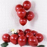 Kuchang 5 بوصة 12 بوصة روبي الأحمر لامع اللؤلؤ اللاتكس بالونات الكروم المعدنية لون الزفاف حزب ديكور Y0622