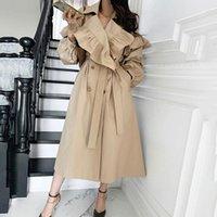 Women's Trench Coats [EWQ] Korea Chic Khaki Coat Winter 2021 Laple Loose Double Breasted Long Sleeve Windbreaker 16E3813