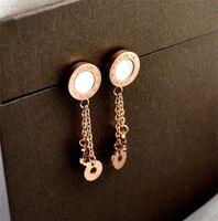 Yun Ruo 2020 Новая мода Римская цифра кисточкой серьги серьги розовое золото цвет женские подарок на день рождения титановые стальные украшения никогда не исчезают1 845 R2