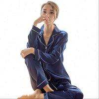 NEWDISCVRY Silk Satin Pajamas Pyjamas Womens Sleepwears Set Long Sleeve Pijama Suit Female Sleep Two Piece Loungewear