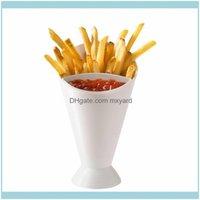 식기 부엌, 다이닝 바 홈 Garden4pcs 플라스틱 컵 자체 스탠드 2 in 1 프렌치 프라이 콘 디핑 감자 도구 식기 튀김 칩 보류