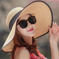 Moda Kadınlar Büyük Brim Hasır Şapka Güneş Disket Geniş Şapkalar Ilmek Katlanır Plaj Kap Summer 2021 #