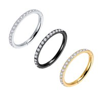Crystal Clicker Clear Zircon Earrings Hoops Hiphop Rock Hinged CZ Segment Ring Ear Cartilage Nose Ring Surgical Steel Gold 16G
