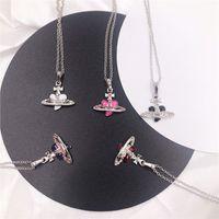 Trendy Belle a forma di cuore saturn Saturn Catena perla Collana pendente per le donne Full Diamond Temperament Jewelry Shiny AAA Zircon Ins