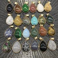 Reiki Healing Jewelry water drop Natural Stone Pendant Quartz Lapis Opal Pink Crystal Pendants DIY Earrings Necklaces Women