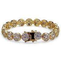 New Fashion Gold And White Gold Hip Hop Full Diamond Tennis Bracelet Iced Out Cz Cubic Zircon Wrist Chains Jewel wmtfun dh_garden
