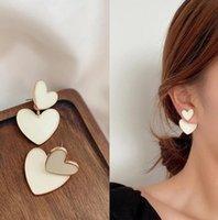 Unique Design White Stud Earring for Women Enamel Double Heart Drop Earrings Statement Jewelry Female Engagement Party Gift 52641