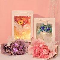 Sevgililer günü Kurutulmuş Buket Sonsuza Çiçek Yapay Güller Gypsophila Noel Şeffaf Kağıt Torba ile Korunmuş Hediye