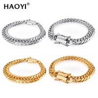 11 13 15mm Hip Hop Stainless Steel Gold Miami Cuban Chain Bracelet Set Mens Rapper Boy Punk Jewelry Link,