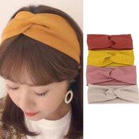 Koreaner Vintage Stirnband Frau Stricken Kreuz Knoten Elastische breite Turbane für Frauen Haarschmuck für Frauen 2020