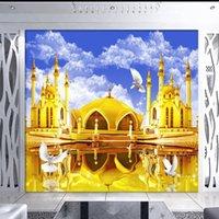 Wallpapers Drop Po Wallpaper Golden Castle Blue Sky Reflection 3D Stere TV Backdrop Mural Living Room El HD Custom