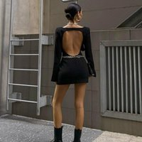 Casual Dresses Harajuku Long-sleeved Dress With Open Back Cutout Chain Decoration Lady Street Wear Black Basic Bodycon